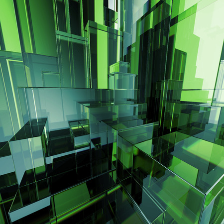 emerald city: 3d concept design, abstract green geometric background, architectural glass construction Stock Photo