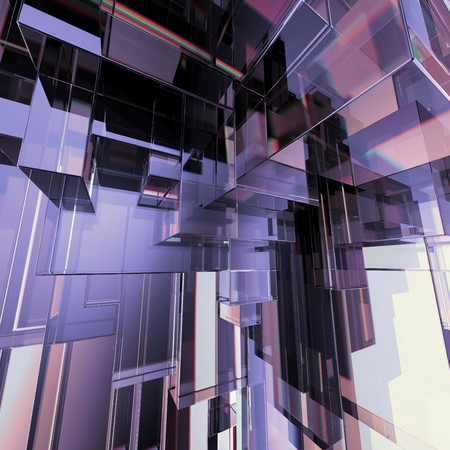 3d concept design, abstract purple geometric background, architectural glass construction photo