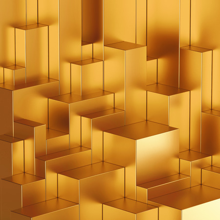 metalic texture: 3d abstract geometric background, gold blocks Stock Photo
