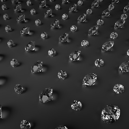 3d abstract design, sparkling brilliants and diamonds on black background photo
