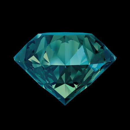 fake diamond: 3d emerald gemstone object isolated on black background Stock Photo