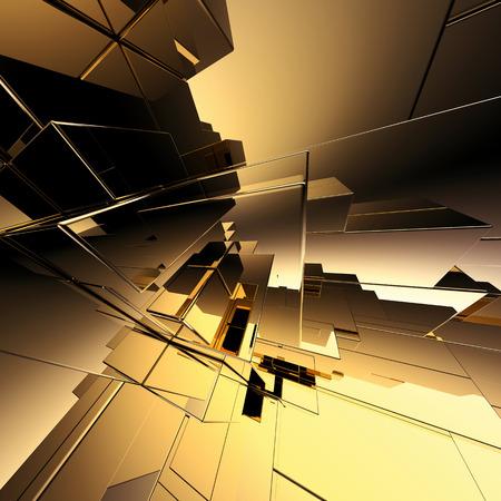 3 d の抽象的な幾何学的な背景、ゴールドの近未来的な構造