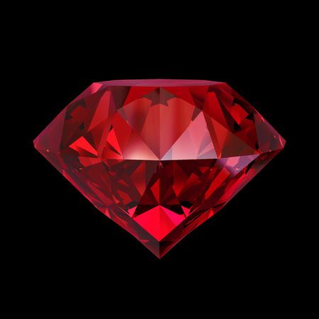 赤いルビー宝石用原石、黒の背景に分離された 3 d オブジェクト 写真素材