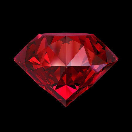 red ruby gemstone, 3d object isolated on black background Stockfoto