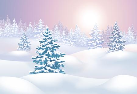 winter landscape horizontal illustration, sunset in forest illustration