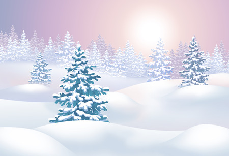 snow field: winter landscape horizontal illustration, sunset in forest