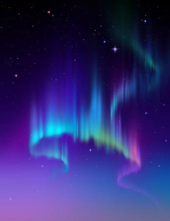 arctic zone: Aurora Borealis background, northern lights illustration