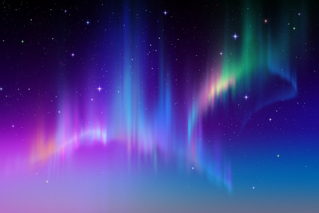 night light: Aurora Borealis background, northern lights illustration