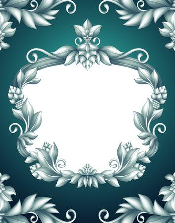 acanthus: Christmas vintage background, floral frame, holiday banner