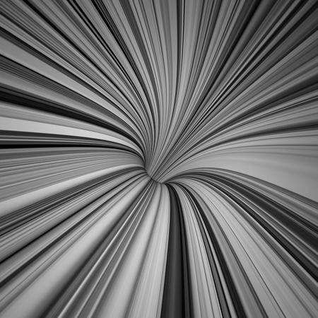 tunnel light: contrast black and white curved lines, 3d abstract background