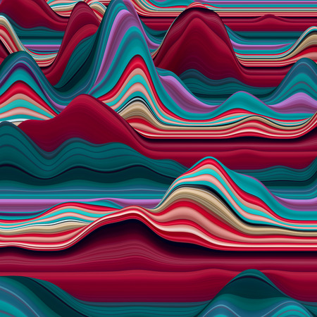 3d art: abstract colorful wavy lines, 3d background, decorative landscape