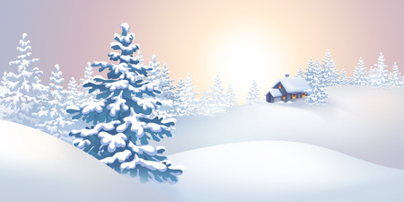 season's greeting: winter nature landscape panorama, holiday background