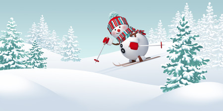 hoar frost: Christmas snowman skiing downhill, winter sports Stock Photo