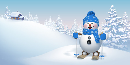 snowman background: skiing snowman in winter forest, Christmas background