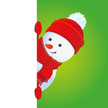 winter clothing: vector snowman looking out the corner, Christmas banner