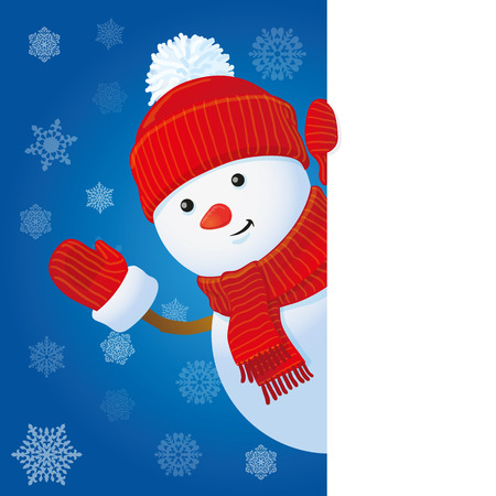 looking in corner: vector snowman looking out the corner, winter banner Illustration