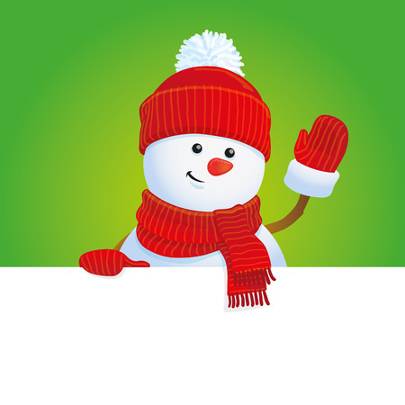 vector snowman background, Christmas greeting card Vector