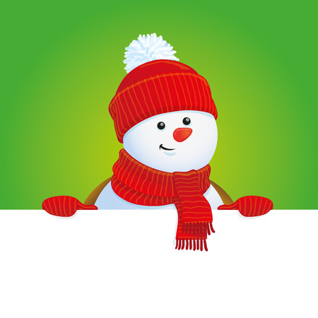 x mas background: vector snowman holding banner, Christmas background
