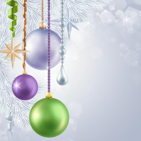 Christmas tree hanging balls illustration, holiday background illustration