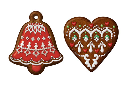 Christmas gingerbread cookies heart bell isolated set photo