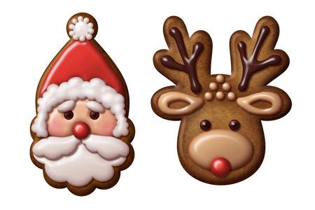 gingerbread man: Christmas gingerbread cookies reindeer Santa Claus Stock Photo