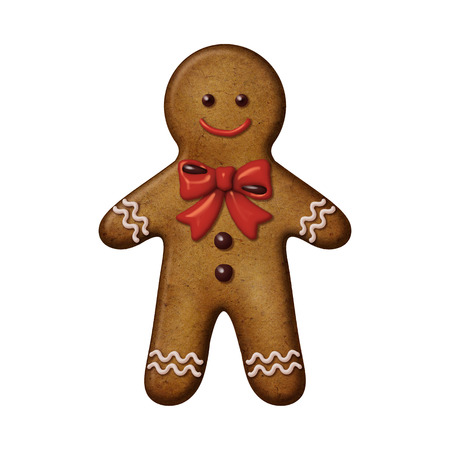 christmas cookie: Christmas gingerbread man cookie isolated illustration
