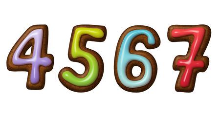 calendario escolar: Navidad números de galletas de jengibre aislados