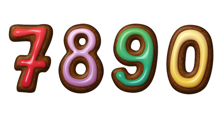 null: Christmas gingerbread cookies numbers isolated