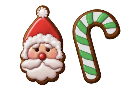 christmas cookie: Christmas gingerbread cookie Santa Claus candy cane