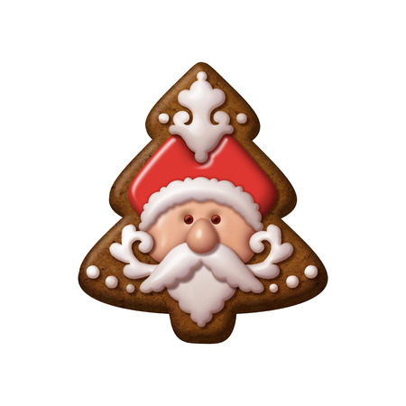 christmas cookie: Christmas tree gingerbread cookie Santa Claus