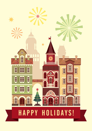 happy holidays greeting card, day Christmas city, town houses photo