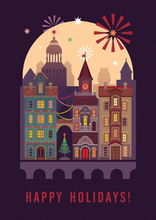 happy holidays greeting card, night Christmas city, town houses photo