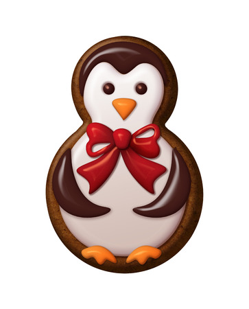 christmas cookie: cute penguin illustration, Christmas gingerbread cookie Stock Photo