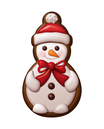 christmas cookie: cute snowman illustration, Christmas gingerbread cookie Stock Photo