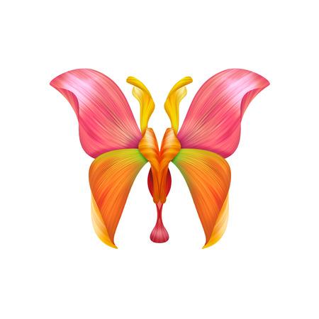 mariposas amarillas: abstracto pétalo ejemplo de la mariposa aislada en blanco