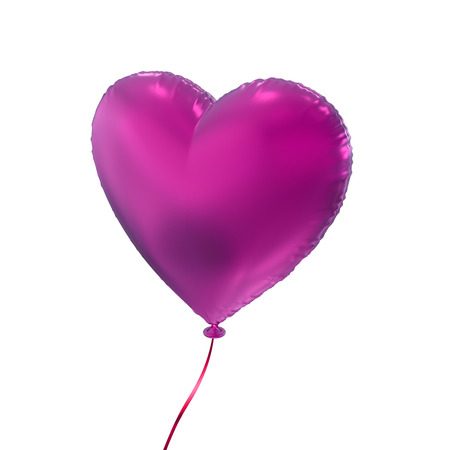 heart balloon: pink heart balloon, 3d object isolated on white background