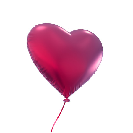 pink heart balloon, 3d object isolated on white background photo