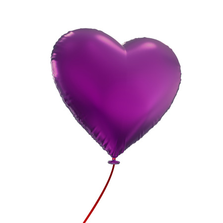 purple: purple heart balloon, 3d object isolated on white background
