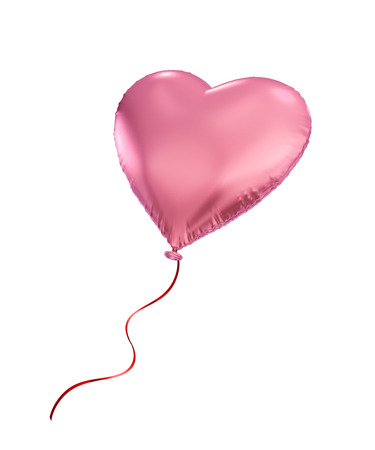 pink heart balloon, 3d object isolated on white background