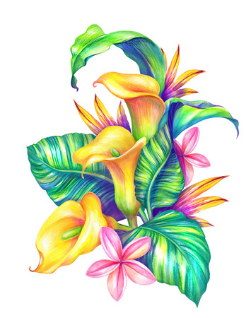abstract tropical leaves and flowers, watercolor illustration Stock Photo