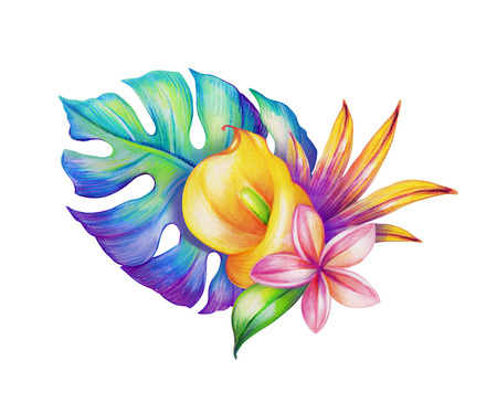 flower art: abstract tropical leaves and flowers, watercolor illustration Stock Photo