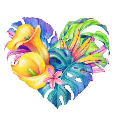 tropical flowers heart, Valentines day card, watercolor illustration Foto de archivo