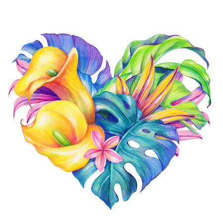 tropical flowers heart, Valentines day card, watercolor illustration Stock Photo