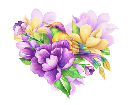 bloom bird of paradise: romantic floral heart with small yellow bird, watercolor flowers and leaves illustration, Valentines day greeting card