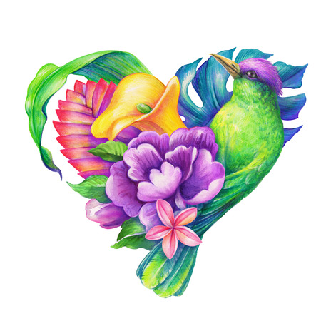 tropical heart with exotic bird and flowers, unusual Valentines day greeting card, watercolor illustration illustration