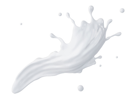 3d abstract liquid milk splash, paint splashing, isolated on white Stockfoto