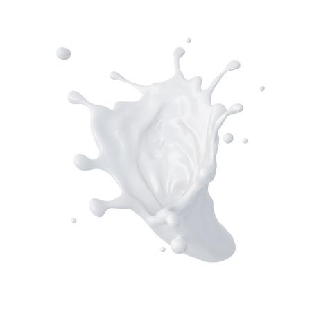 3d abstract vloeibare melk splash, verf spatten, geïsoleerd op wit Stockfoto