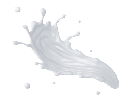 milk drop: 3d abstract liquid milk splash, paint splashing, isolated on white Stock Photo