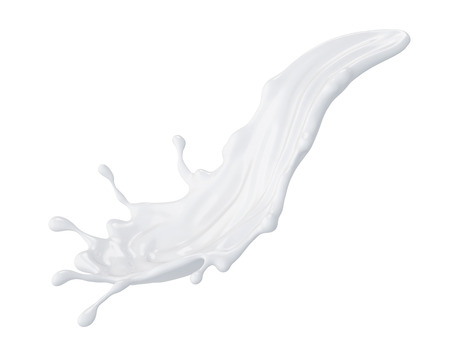 3d abstract liquid milk splash, paint splashing, isolated on white Standard-Bild