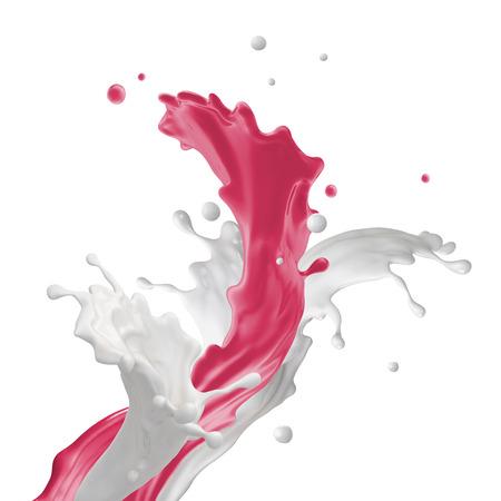mixed fruit yogurt drink splashing, fountain splash isolated on white background